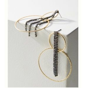 ⚡️Anthropologie gold hoop stone tassel earrings